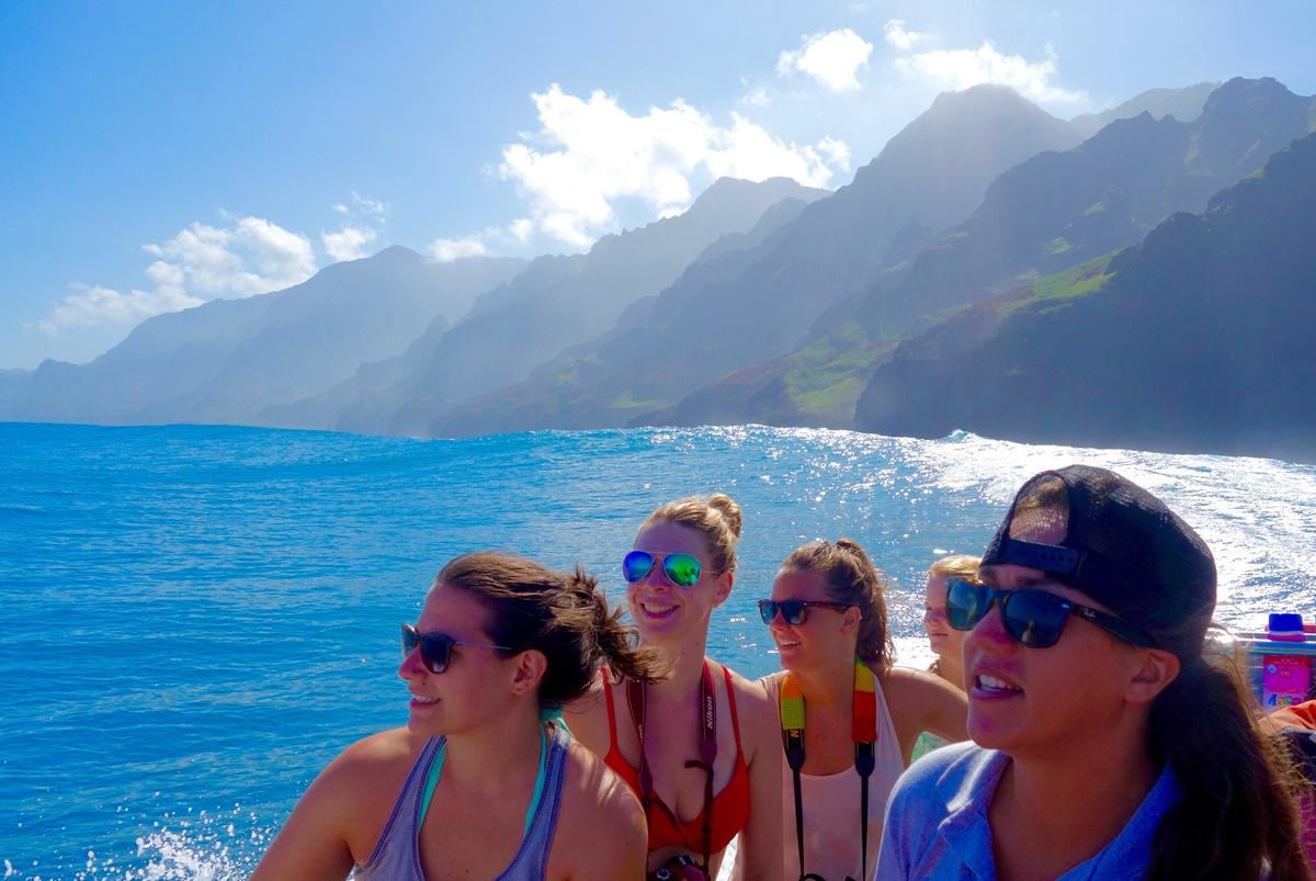 Na Pali Coast boat tour on Kaua'i.