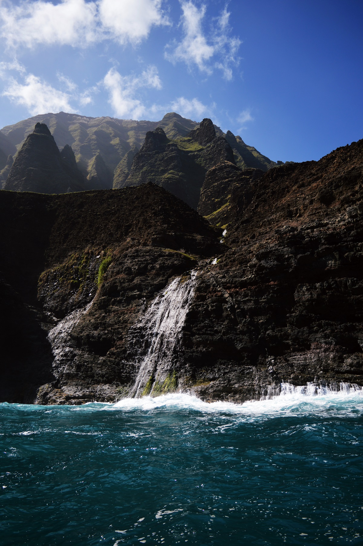 Na Pali Coast waterfall.